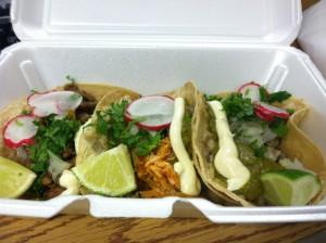 Tilapia, Chicken, Carne Asada Tacos